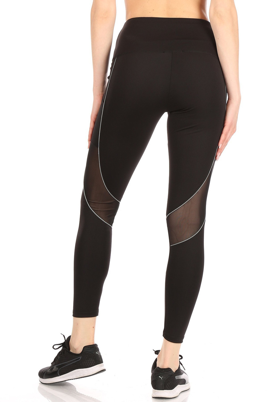 Back view of Women's Mesh Pocket Tummy Control Workout Leggings with Reflective Trim showing sheer mesh panels on the back.