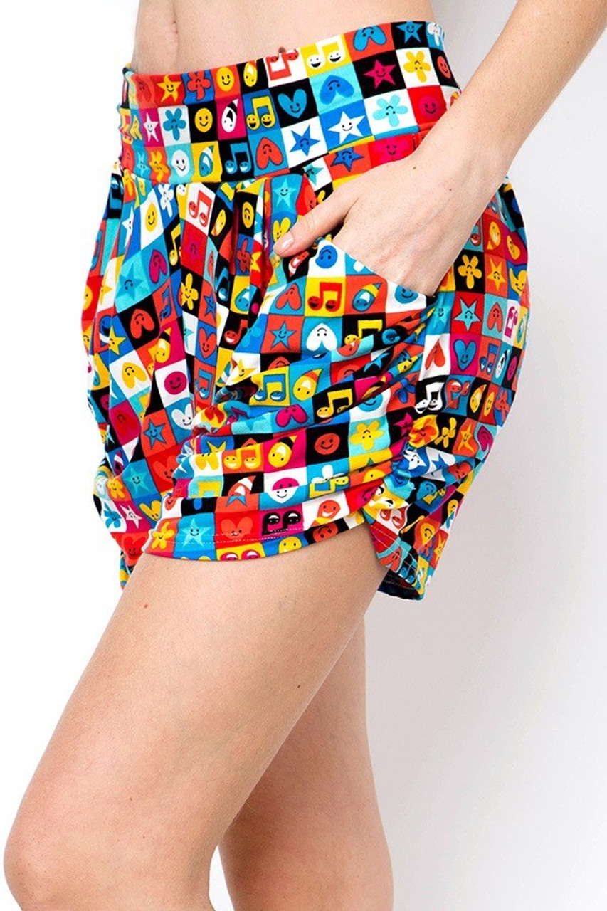 Left side view of Buttery Soft Everything Emoji Harem Shorts showing convenient side pockets.