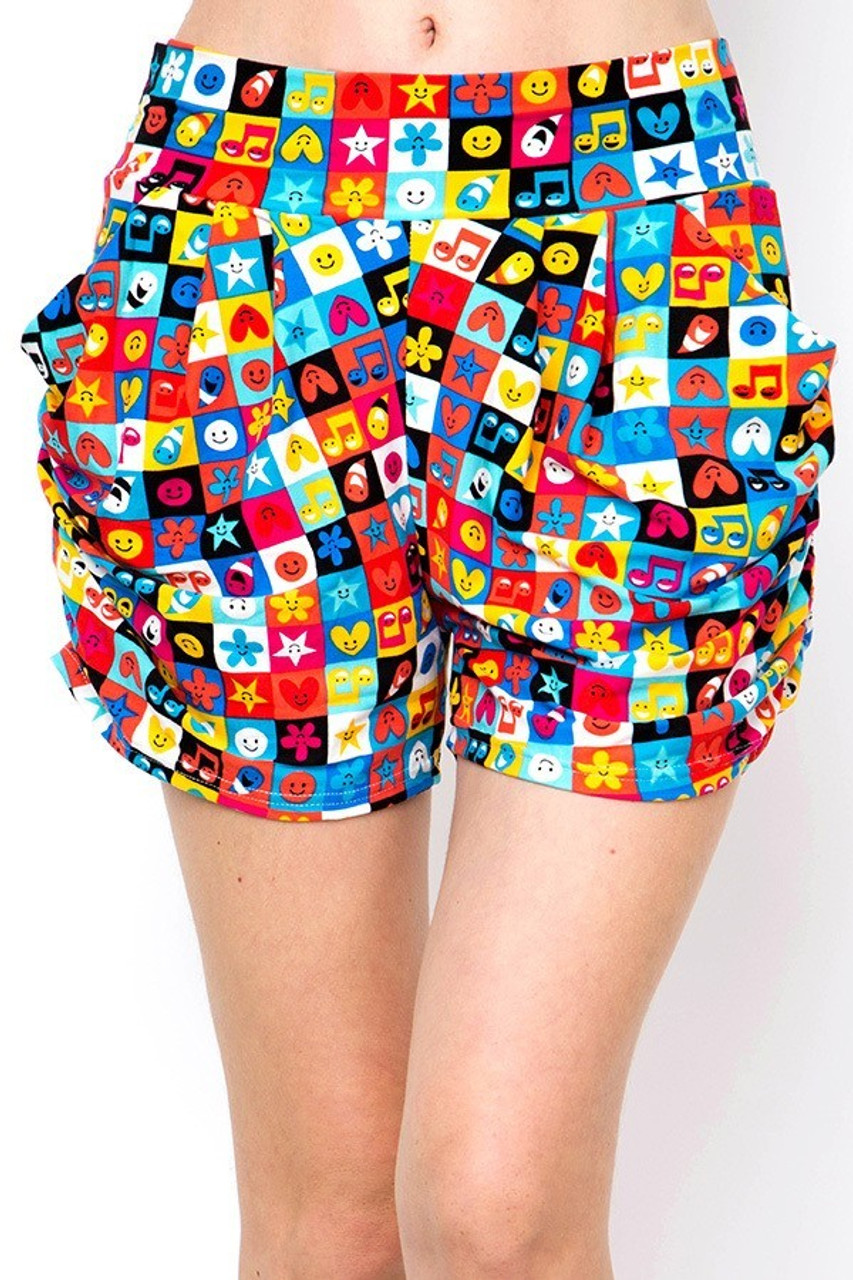 Front view of Buttery Soft Everything Emoji Harem Shorts