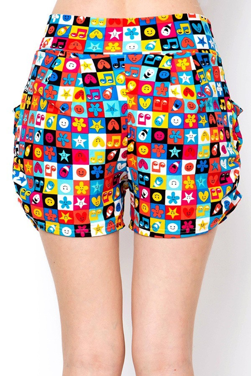 Back view of Buttery Soft Everything Emoji Harem Shorts