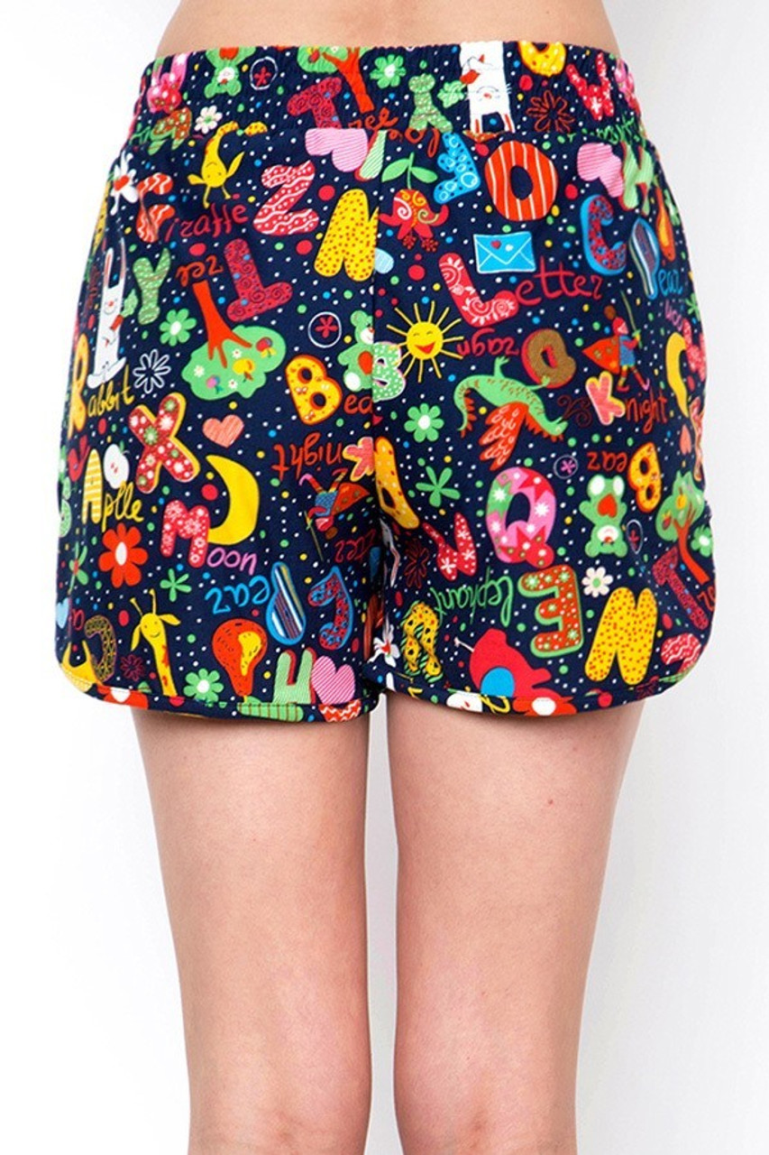Back view of Buttery Soft Animal Letters Dolphin Shorts with a non-clingy fit.
