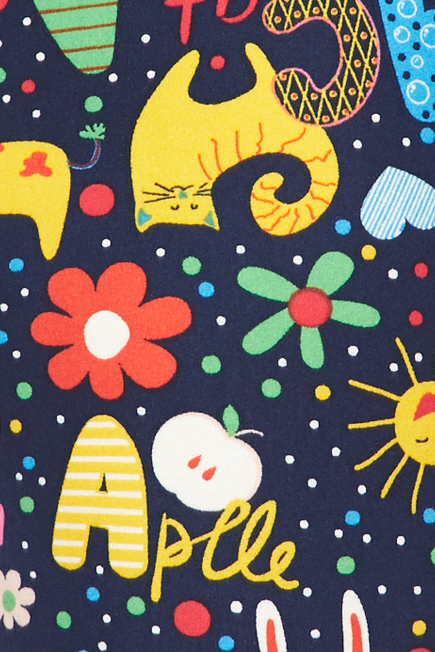Close up fabric swatch of Buttery Soft Animal Letters Dolphin Shorts