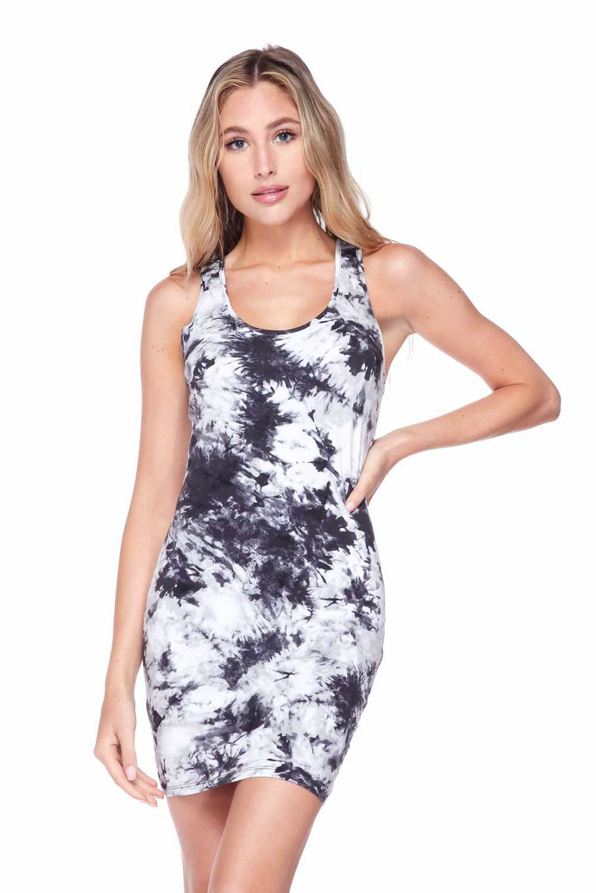 Front view of our Black Splash Tie Dye Cotton Racerback Bodycon with a black and white color scheme that pairs with accessories of any color.