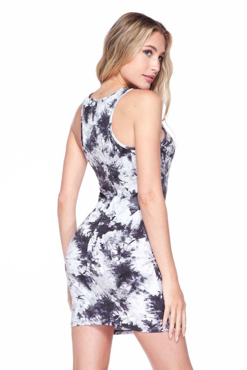 Rear view of Splash Tie Dye Cotton Racerback Bodycon with a body-hugging fit and thick racerback tank style straps.