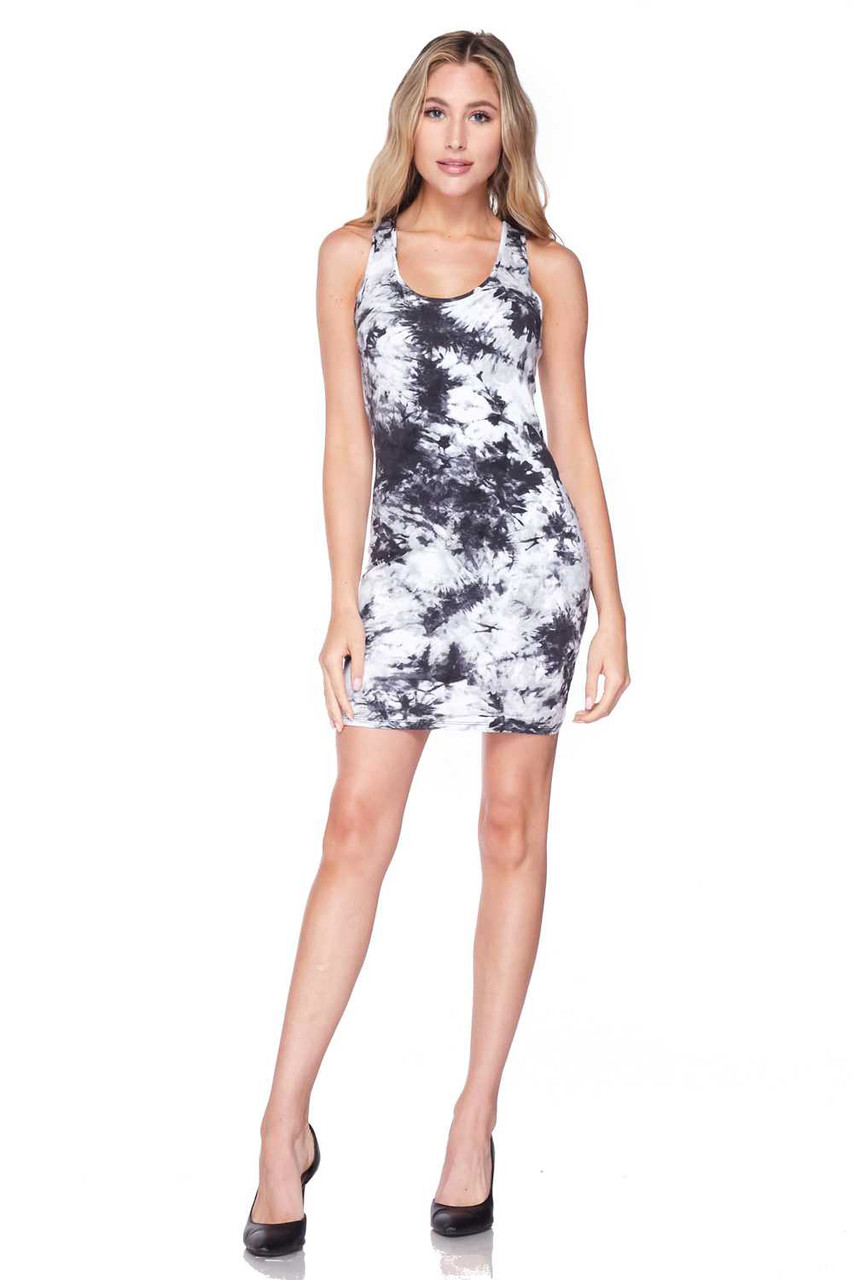 Full body front view of Splash Tie Dye Cotton Racerback Bodycon shown styled with simple black pumps.