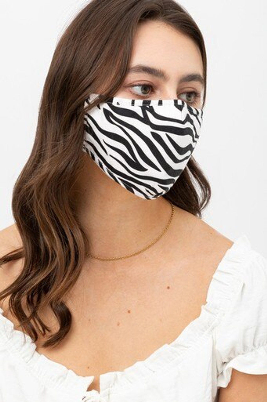 Right side view of Zebra Print Fashion Face Mask with Built In Filter and Nose Bar