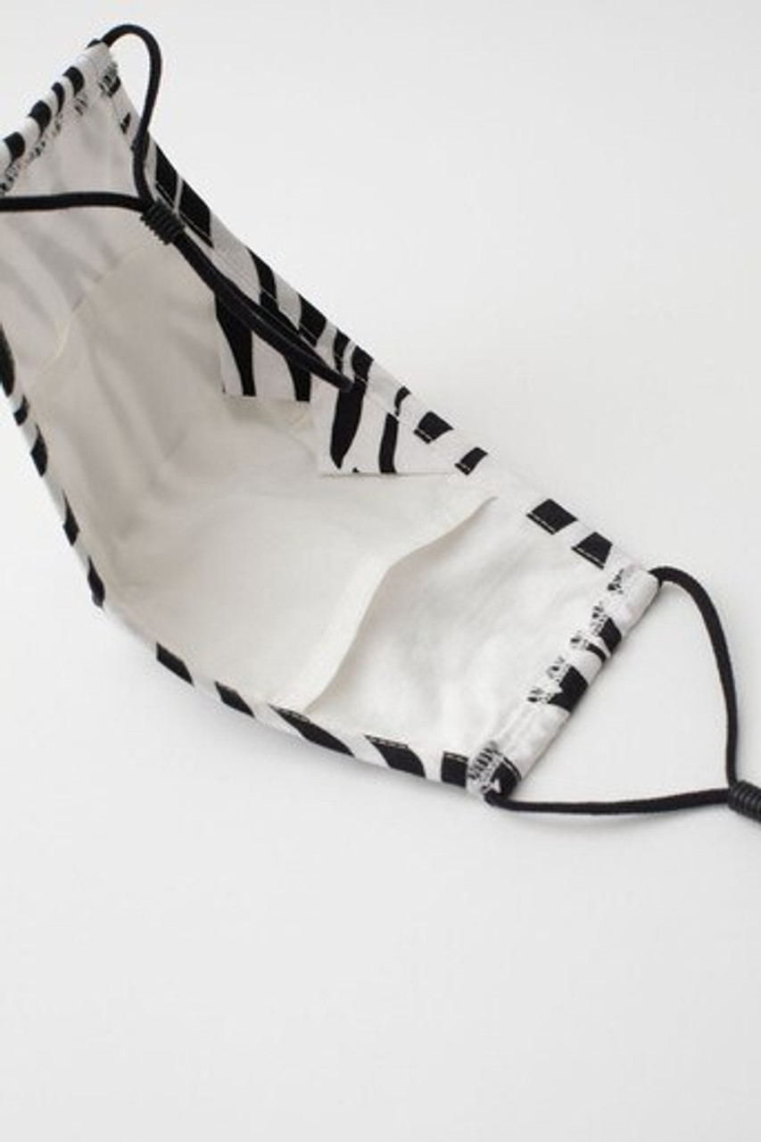 Inner view of Zebra Print Fashion Face Mask with Built In Filter and Nose Bar showing the rear PM2.5 filter.