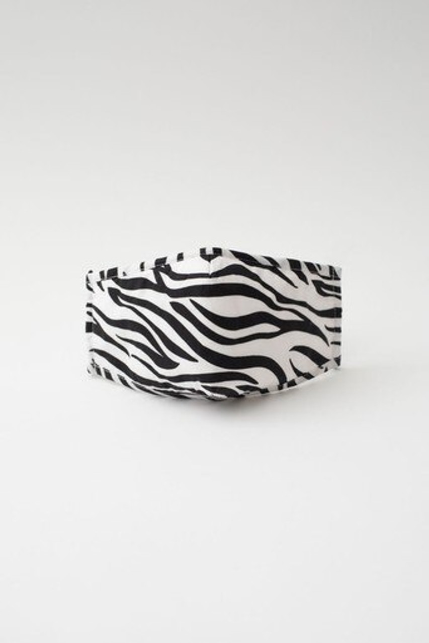 Stand alone front view of Zebra Print Fashion Face Mask with Built In Filter and Nose Bar with a horizontal black and white striped animal design that pairs with any outfit for any season.