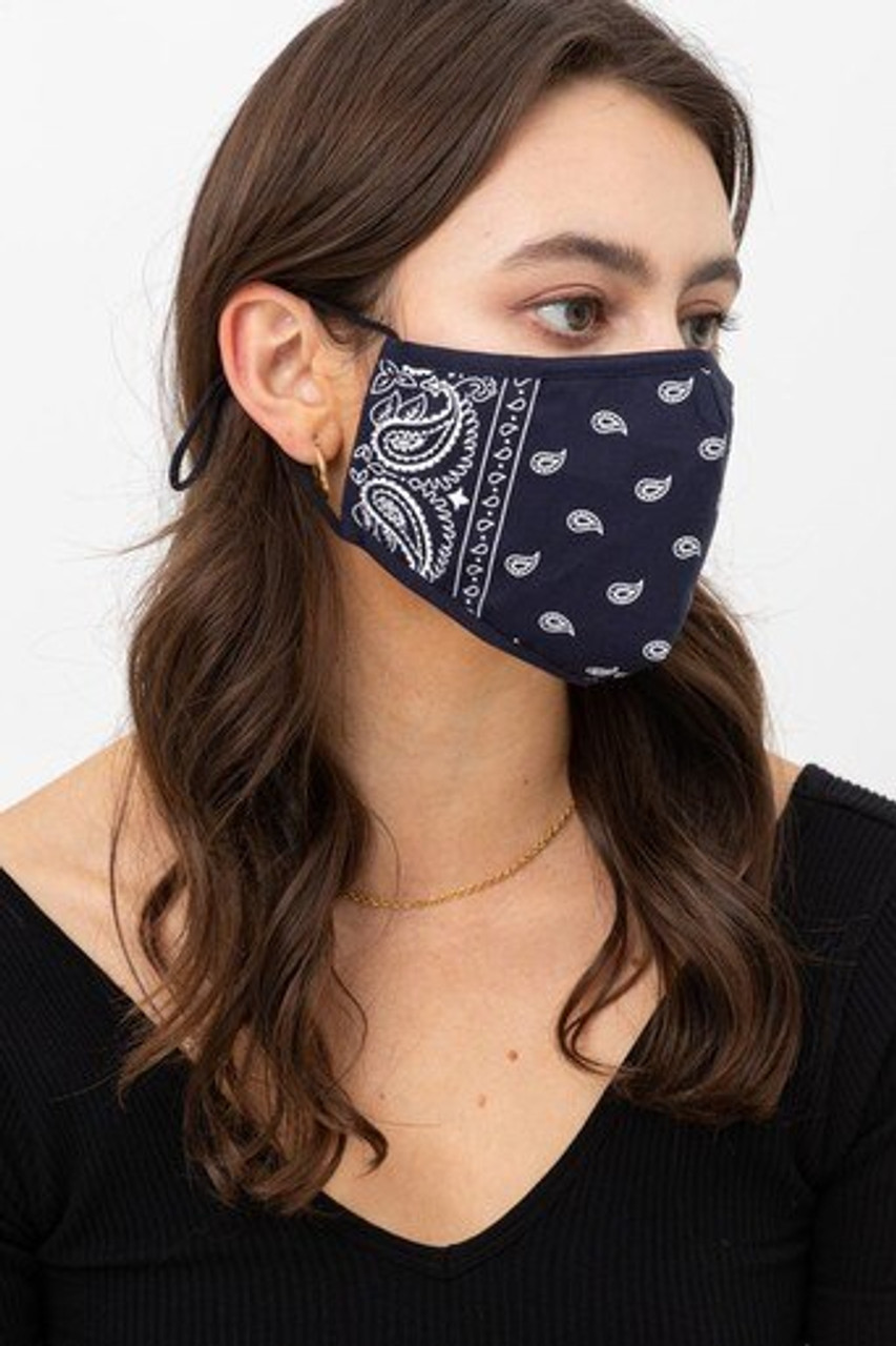 Right side view of Navy Bandana Fashion Face Mask with Built In Filter and Nose Bar
