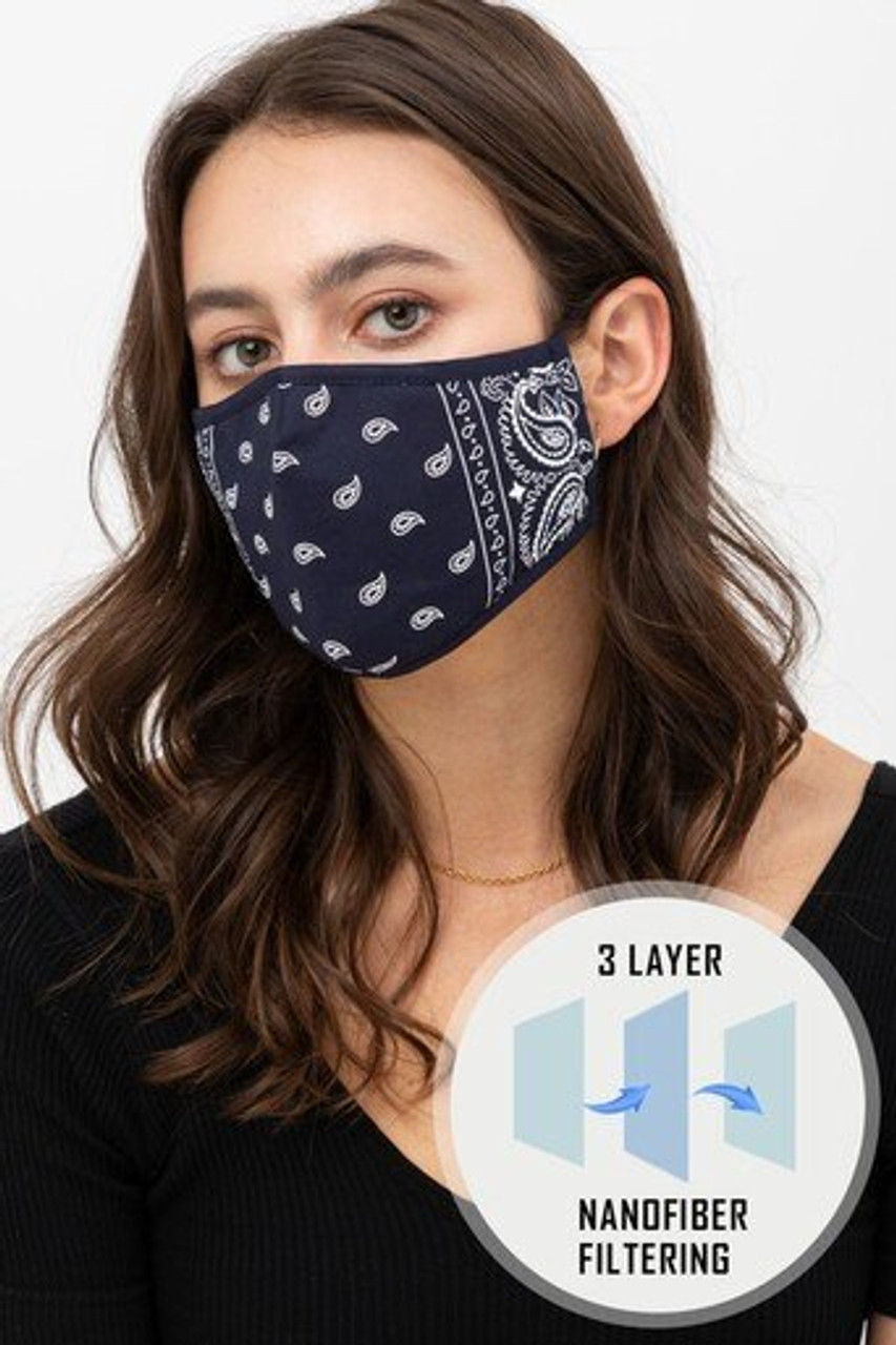 Front view of Navy Bandana Fashion Face Mask with Built In Filter and Nose Bar with an illustration showing triple layer nanofiber filtration.