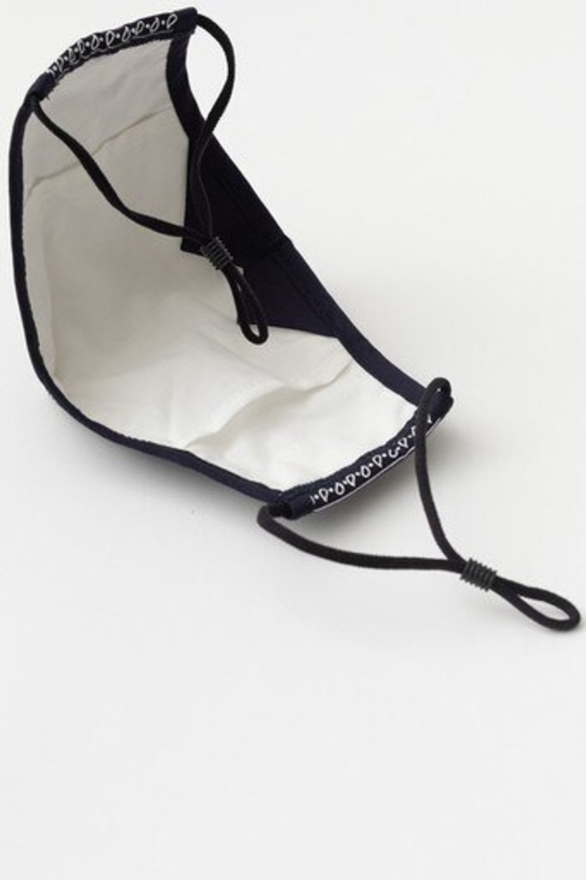 Inner view of Navy Bandana Fashion Face Mask with Built In Filter and Nose Bar showing the rear PM2.5 filter pocket.