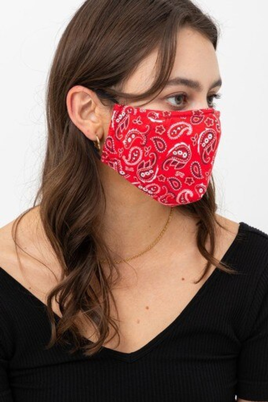 Right side view of Red Bandana Fashion Face Mask with Built In Filter and Nose Bar