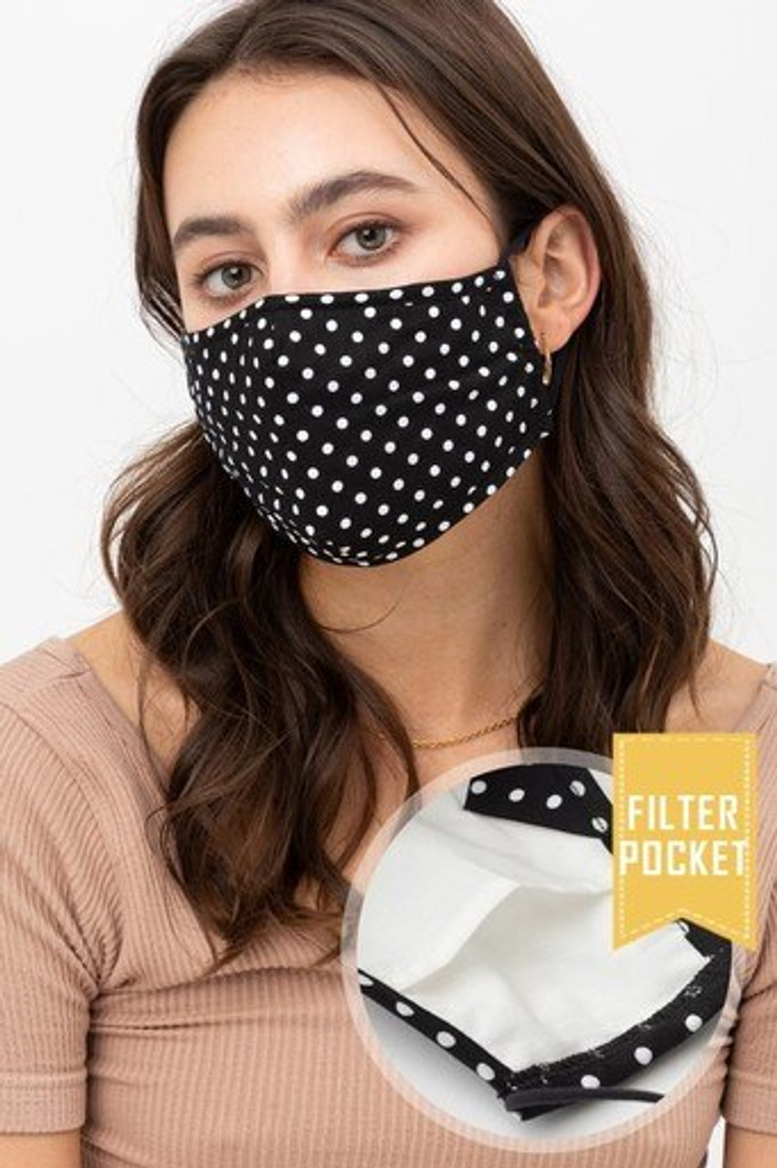 Partial left side/front view of Black Polka Dot Fashion Face Mask with Built In Filter and Nose Bar