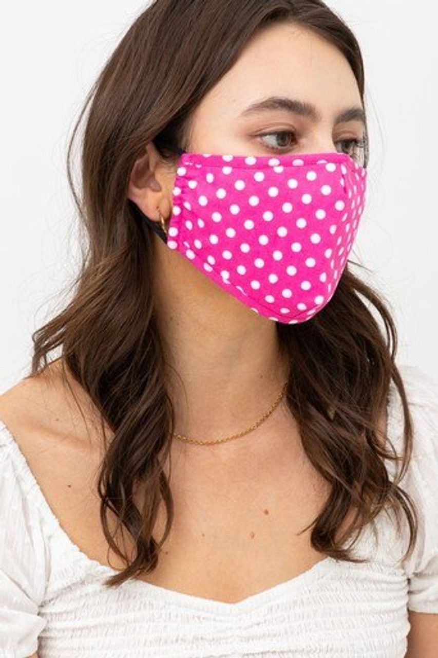 Right side view of Pink Polka Dot Fashion Face Mask with Built In Filter and Nose Bar with black ear supports.