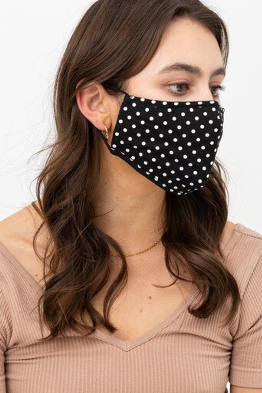 Right side view of Black Polka Dot Fashion Face Mask with Built In Filter and Nose Bar with black ear supports.