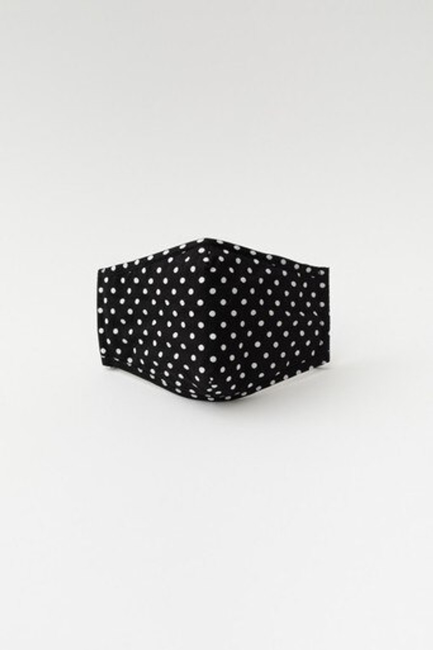 Stand alone front facing view of Black Polka Dot Fashion Face Mask with Built In Filter and Nose Bar