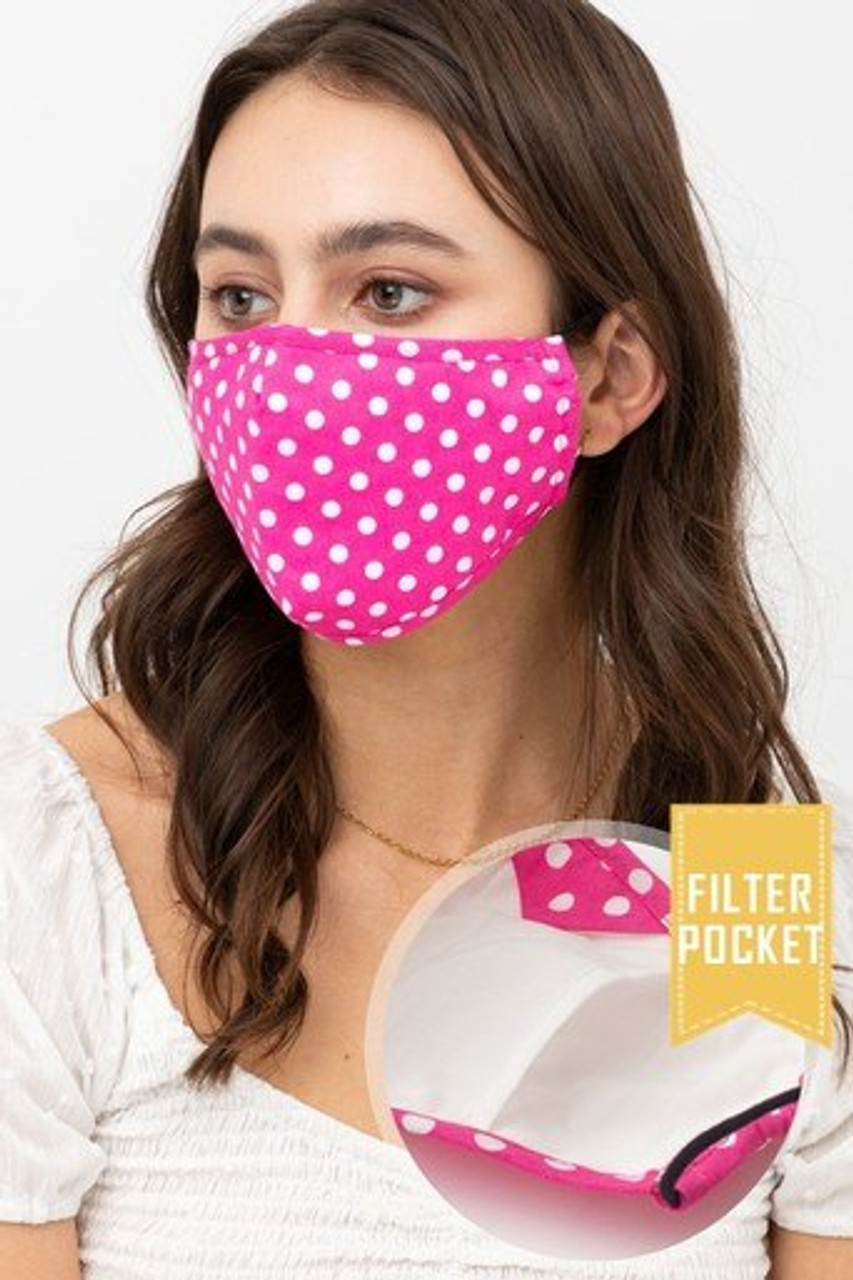 Modeled view of Pink Polka Dot Fashion Face Mask with Built In Filter and Nose Bar shown with a close up of the PM2.5 filter pocket.
