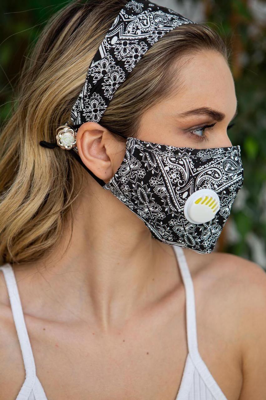 Black 2 Piece Bandana Headband and Face Mask Set