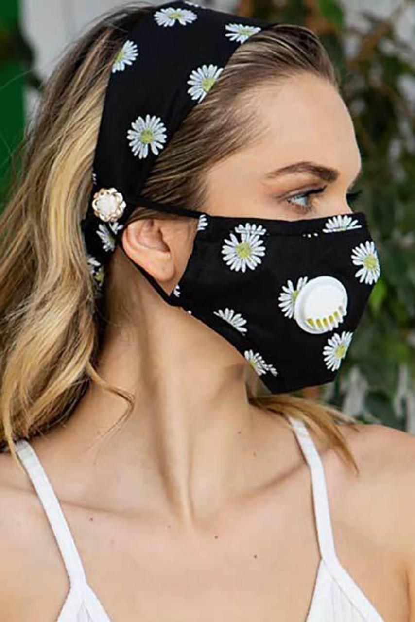 Black 2 Piece Daisy Headband and Face Mask Set