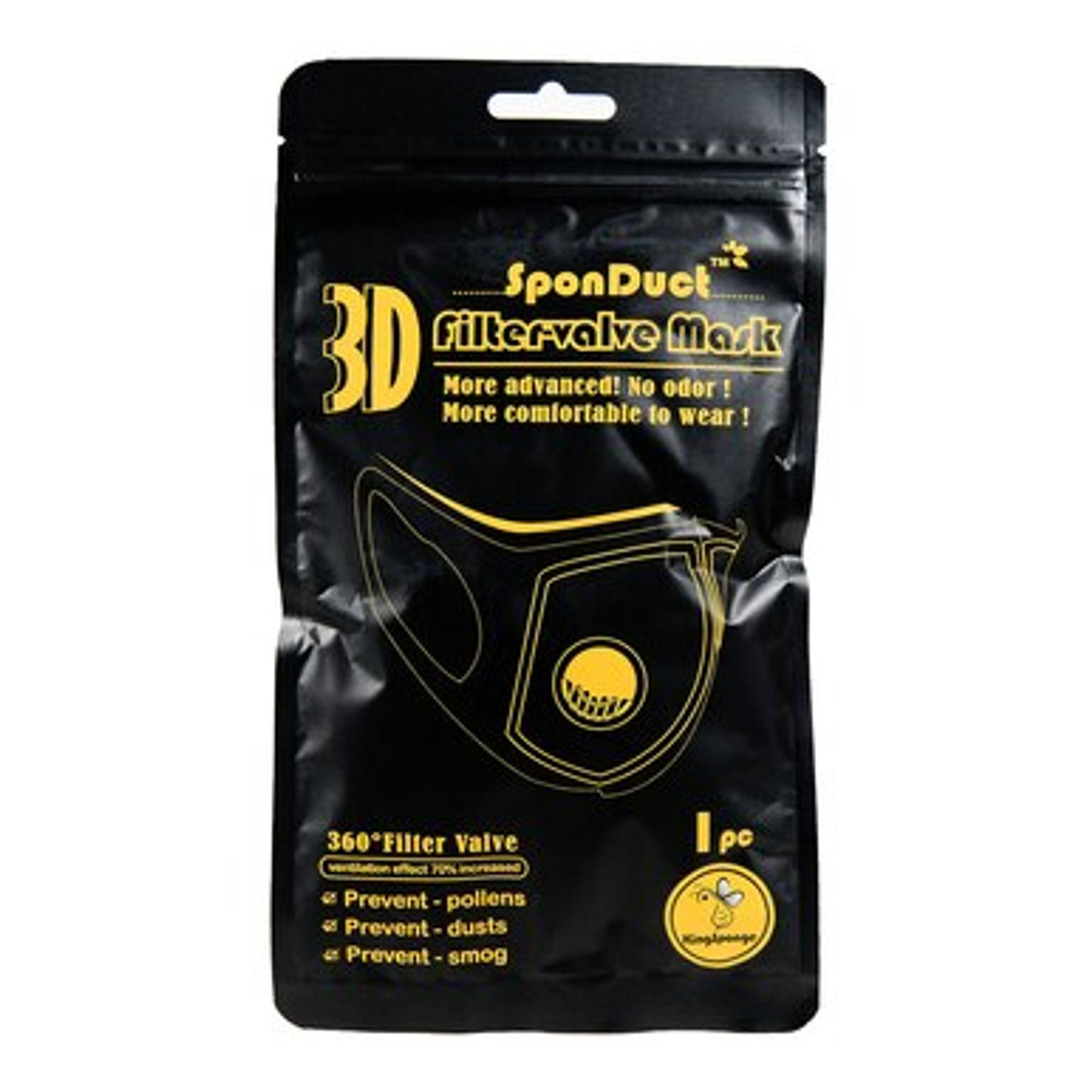 Front of packaging for Black Comfort Sponge Face Mask with Air Valve - 3 Pack
