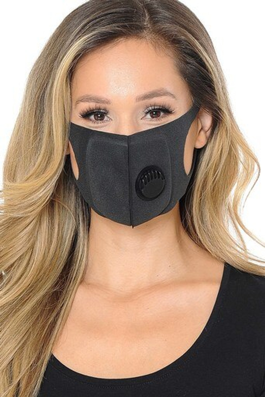 Front of Black Comfort Sponge Face Mask with Air Valve - 3 Pack