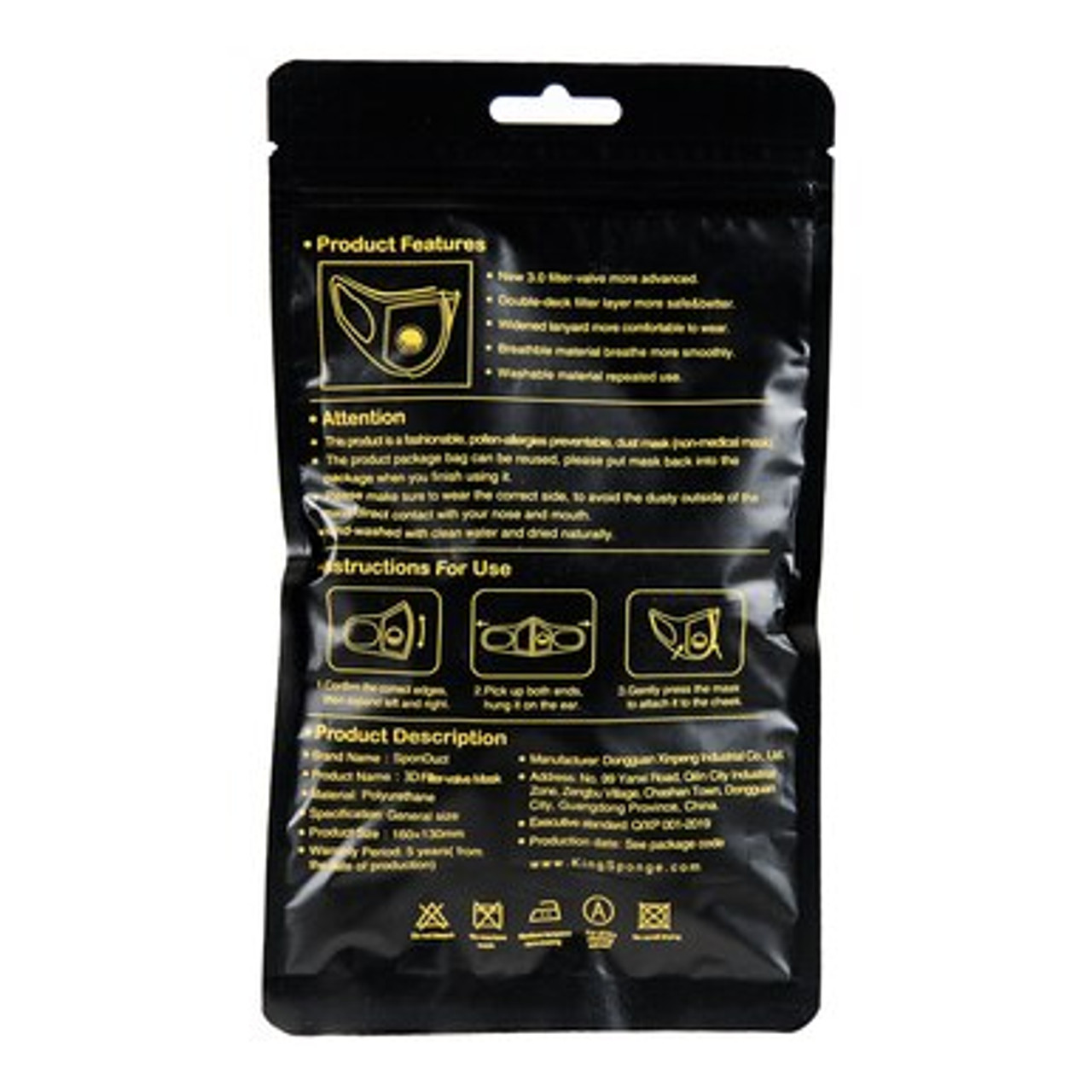 Back of packaging for Black Comfort Sponge Face Mask with Air Valve - 3 Pack with instructions.