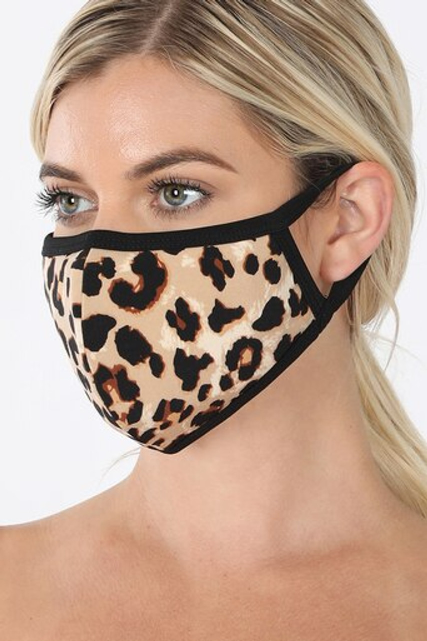 Left side view of  Leopard Print Face Mask - Imported