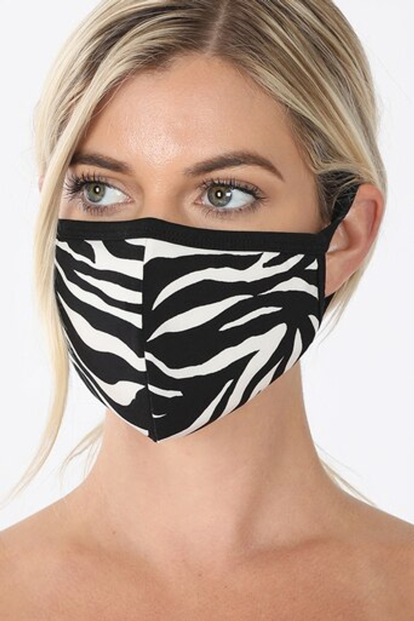 Angled front view of Zebra Print Face Mask - Imported