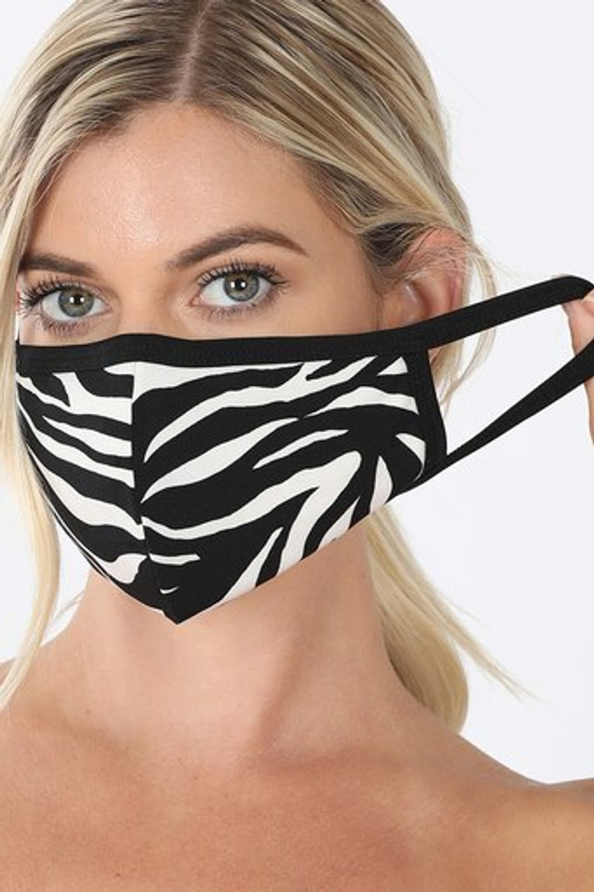 Front of Zebra Print Face Mask - Imported showing off elastic ear supports.