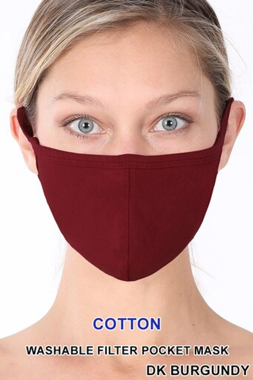 Dark Burgundy Solid Cotton Face Mask - Imported