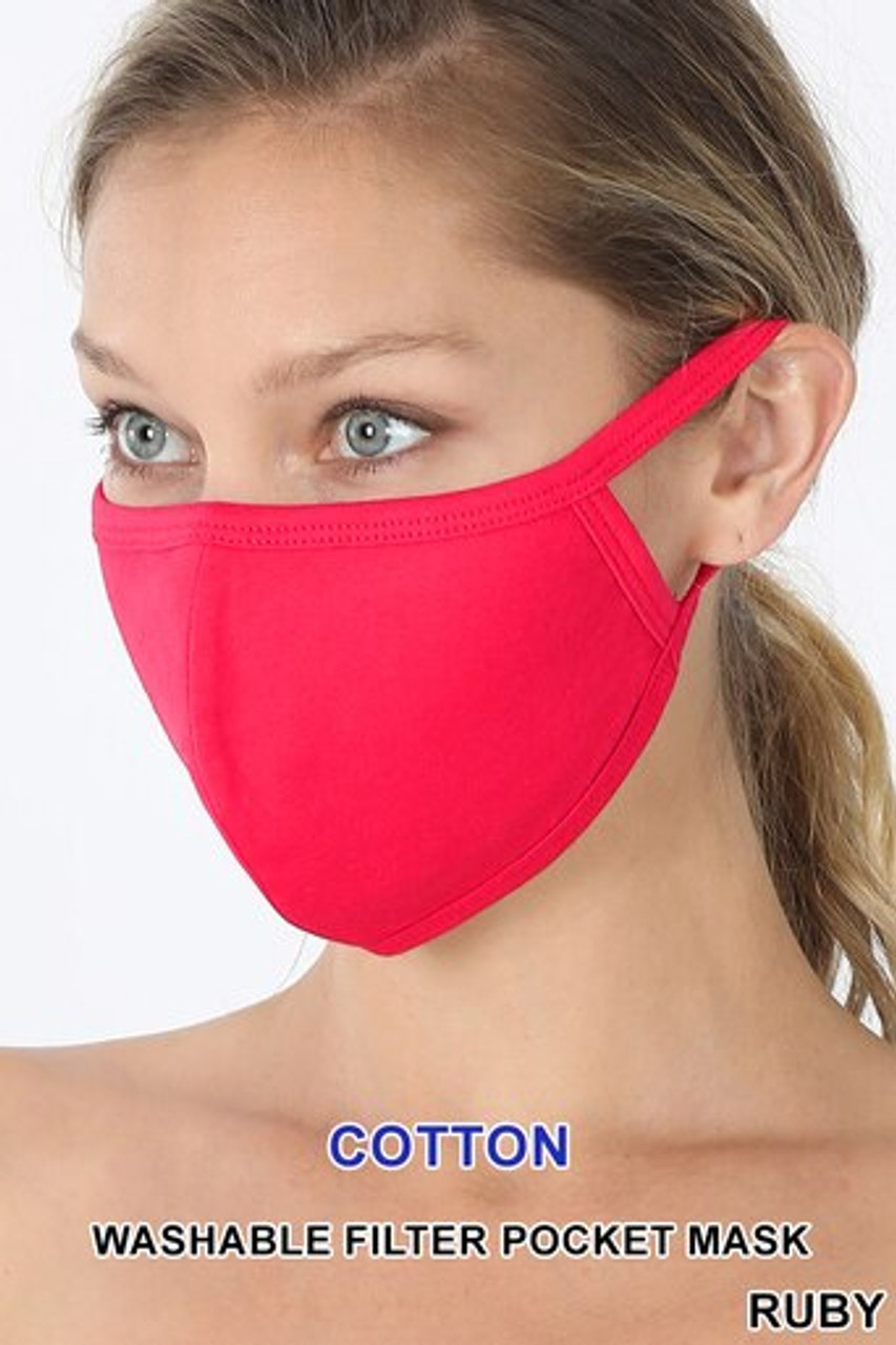 Ruby Red Solid Cotton Face Mask - Imported