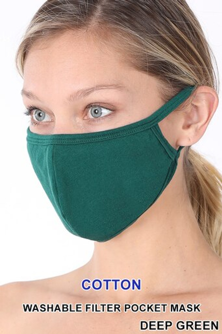 Deep Green Solid Cotton Face Mask - Imported