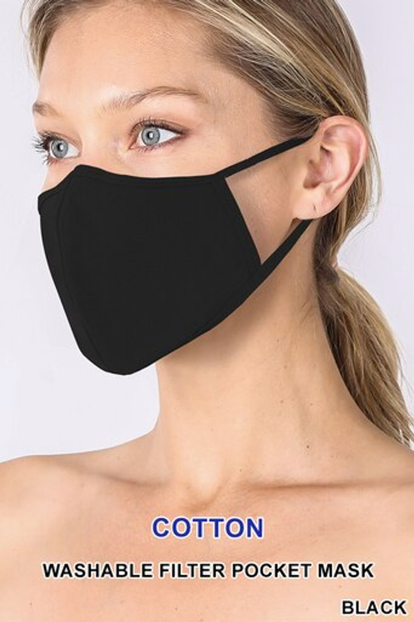 Black Solid Cotton Face Mask - Imported