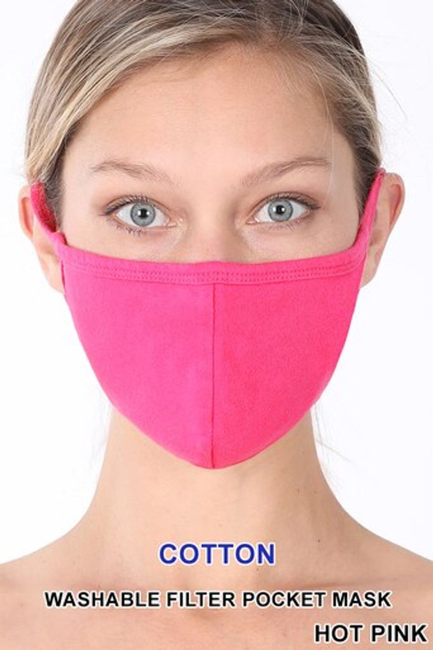 Hot Pink Solid Cotton Face Mask - Imported