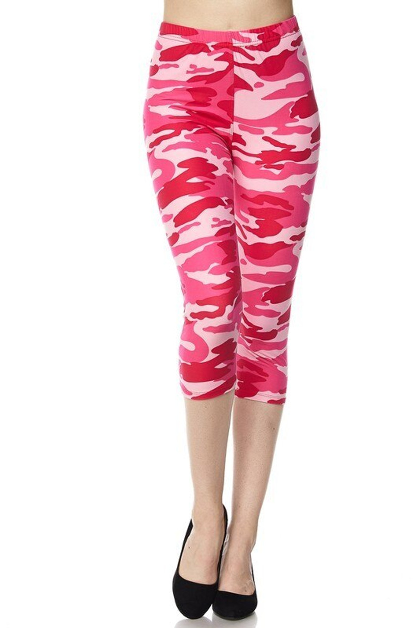 Buttery Soft Pink Camouflage Capris