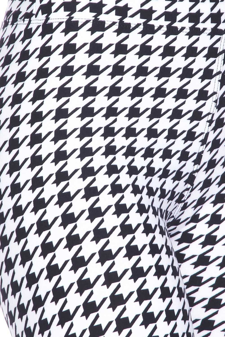 Buttery Soft Houndstooth Plus Size Biker Shorts - 3 Inch Waist Band