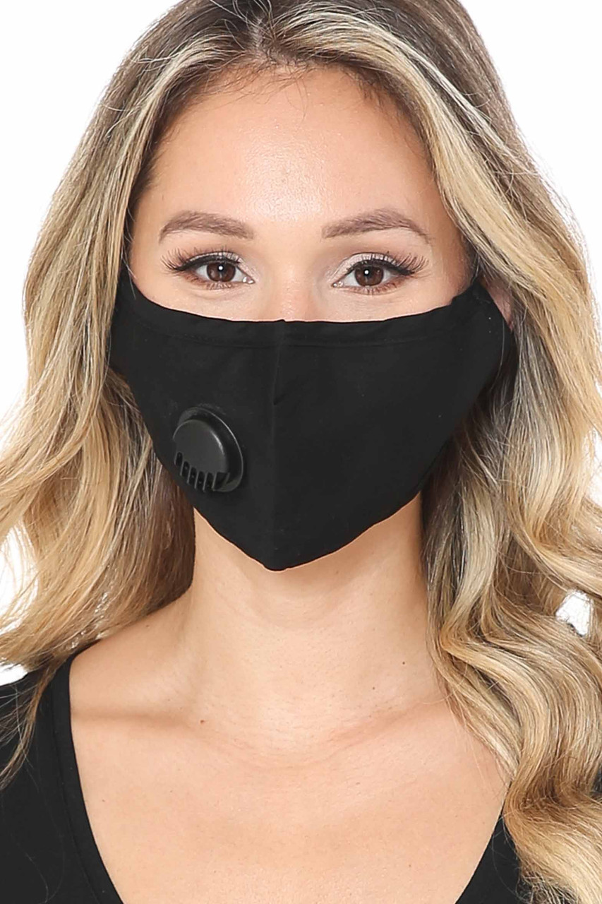 Front of Solid Black Face Mask with Air Valve