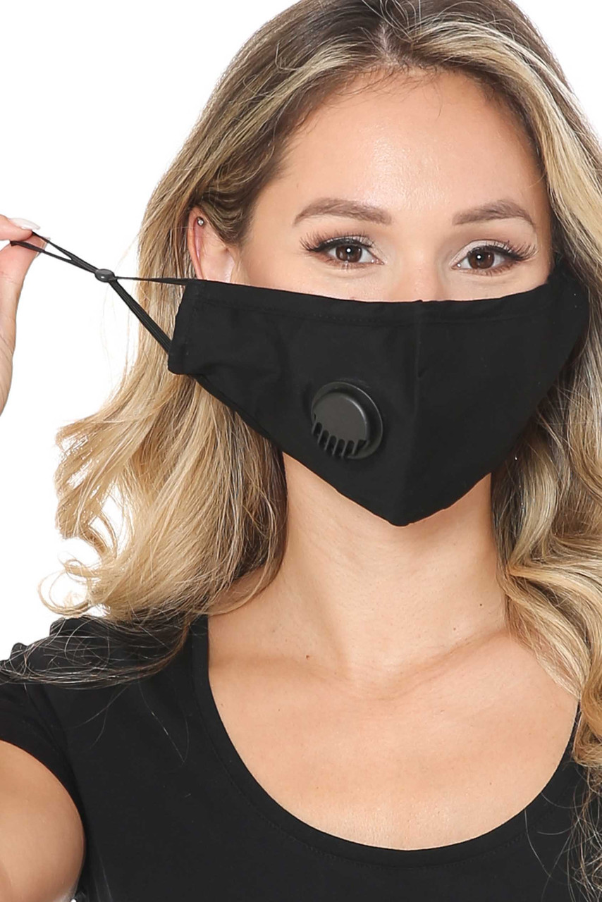Front of Solid Black Face Mask with Air Valve showing adjustable ear string sizing.
