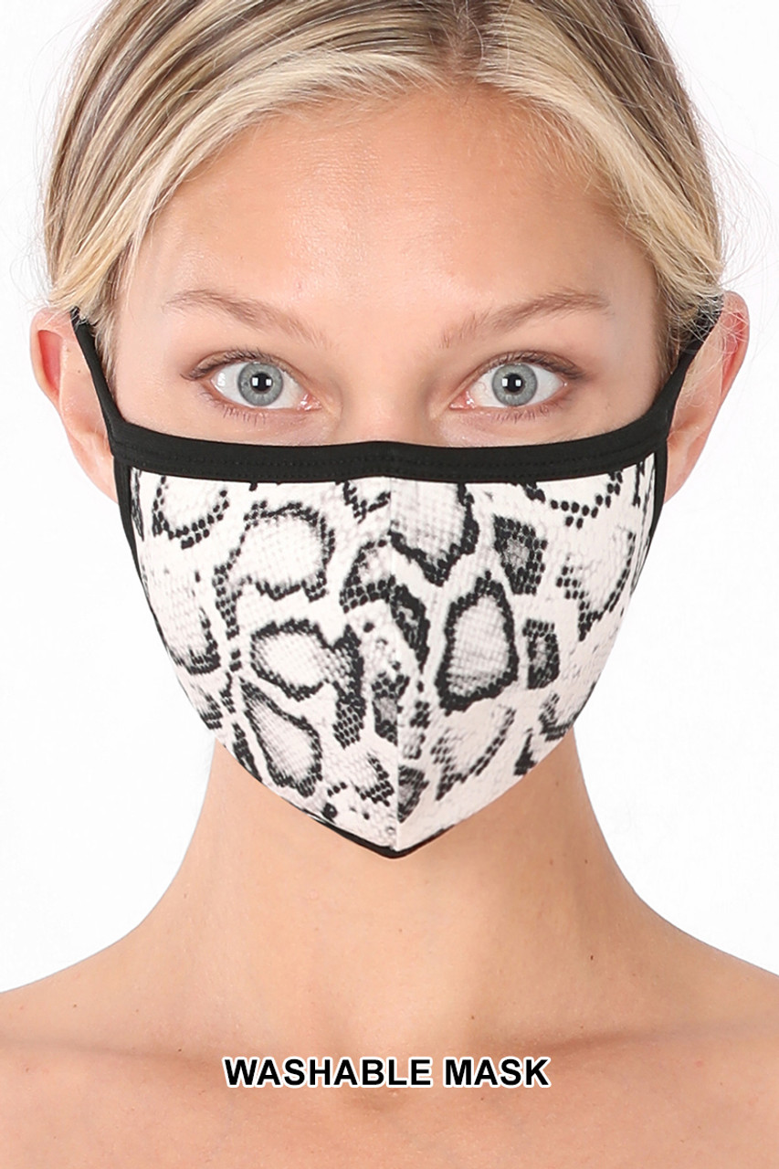 Front of White Snakeskin Face Mask - Imported