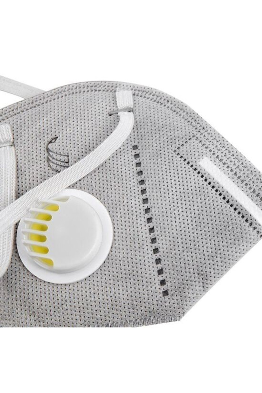 Close up of Charcoal KN95 Face Mask with Air Valve - Singles - Individually Wrapped