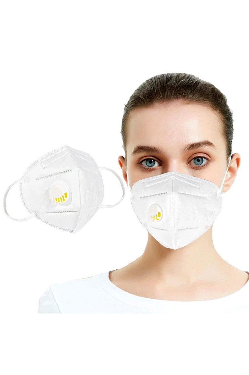 Modeled front view of White KN95 Face Mask with Air Valve - Singles - Individually Wrapped