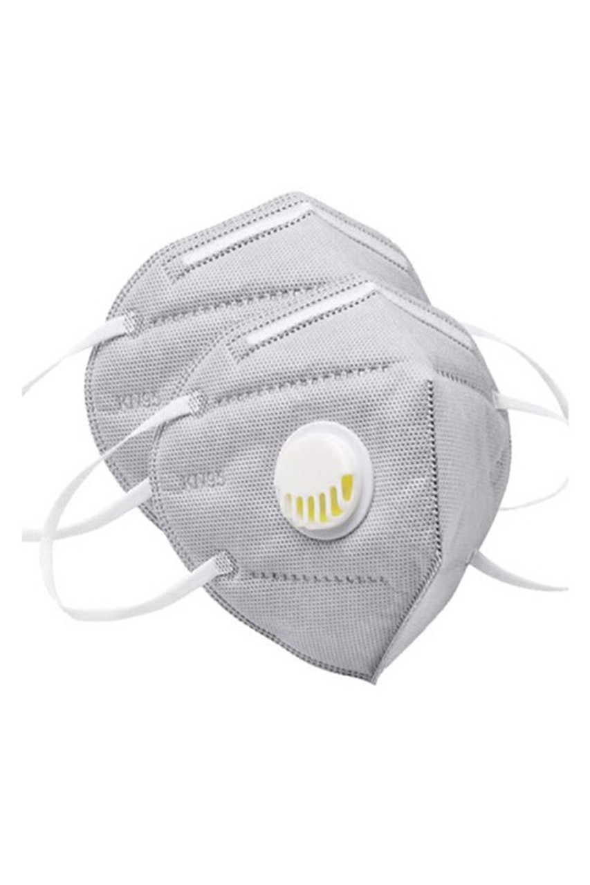 Stand alone view of Charcoal KN95 Face Mask with Air Valve - Singles - Individually Wrapped
