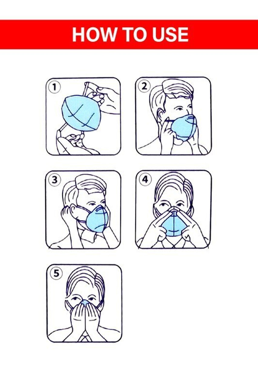 Image of illustrated use Instructions for KN95 Face Mask with Air Valve - Singles - Individually Wrapped