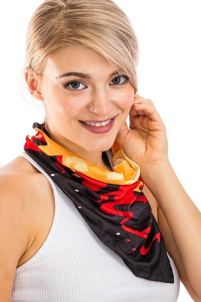 Image of Color in Motion Balaclava Face Mask shown worn as a stylish neck scarf.