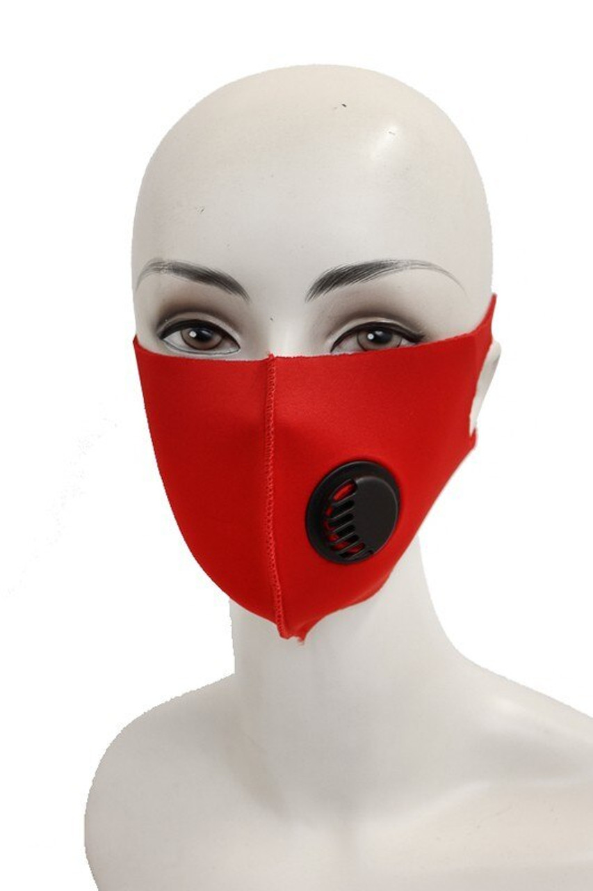 Red Reusable Single Ply Face Masks - Air Valve - Individually Wrapped