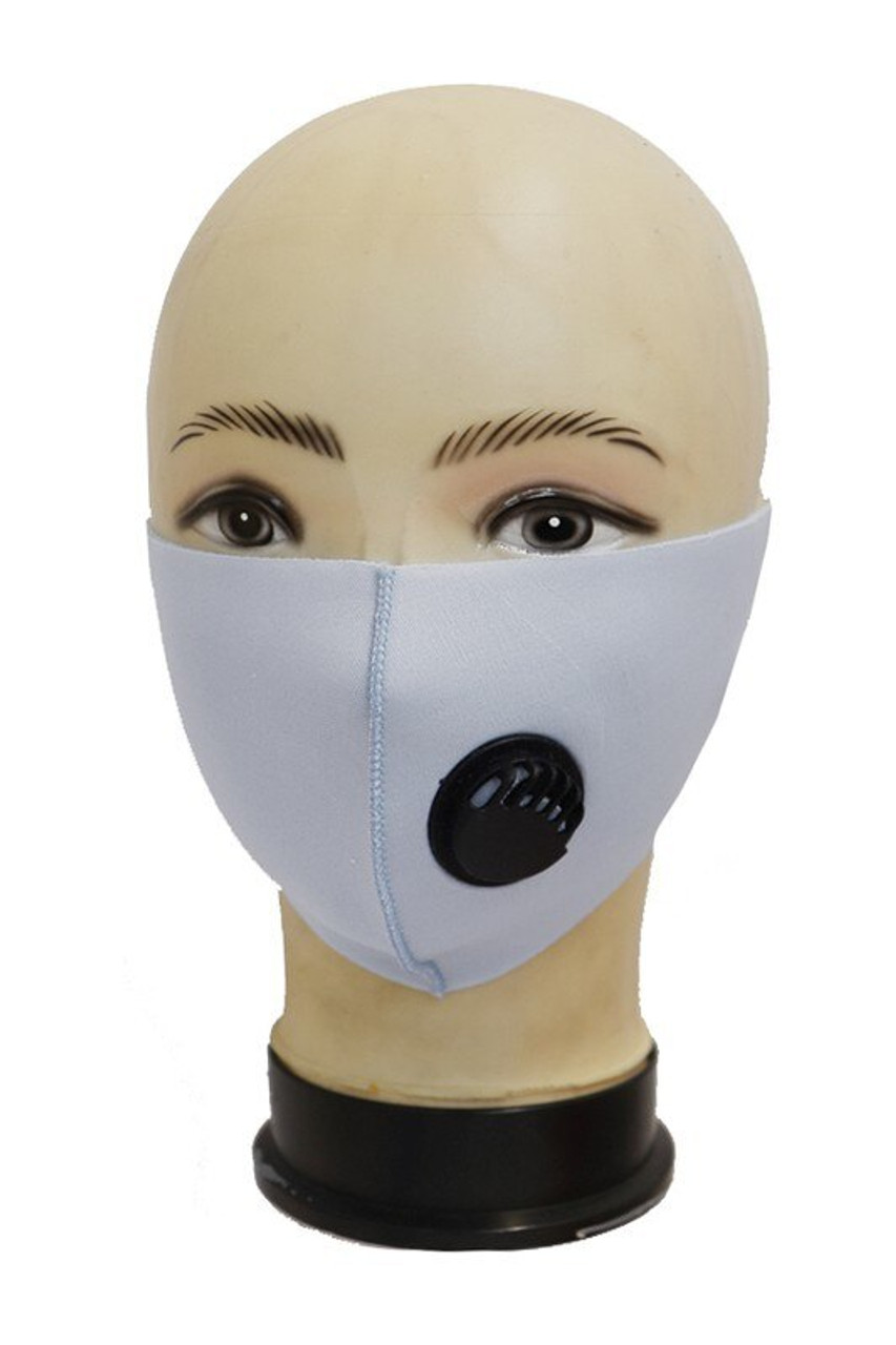 Heather Grey Reusable Single Ply Face Masks - Air Valve - Individually Wrapped