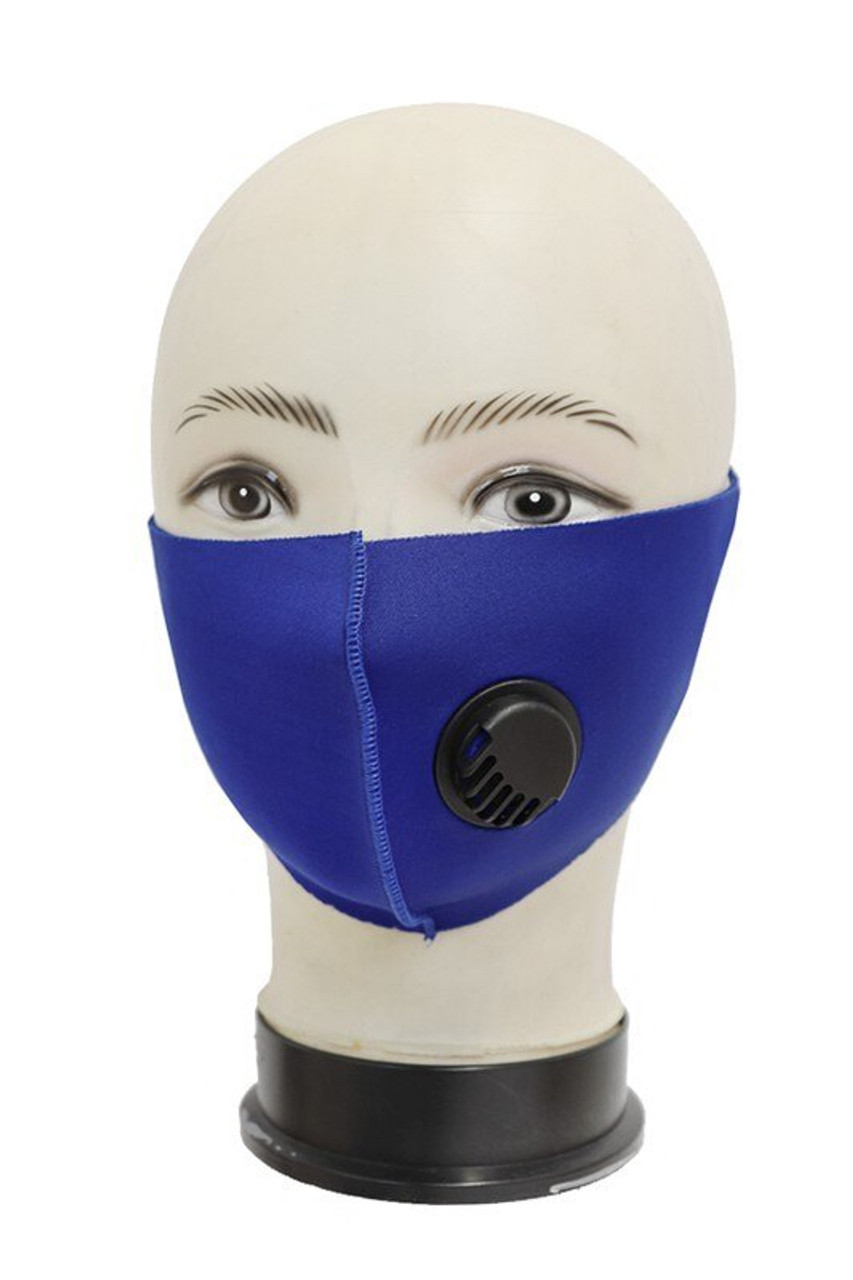 Blue Reusable Single Ply Face Masks - Air Valve - Individually Wrapped