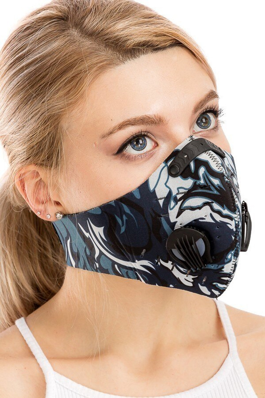 Dual Valve Graffiti Sport Neoprene Face Mask - Activated Carbon PM2.5 Filter