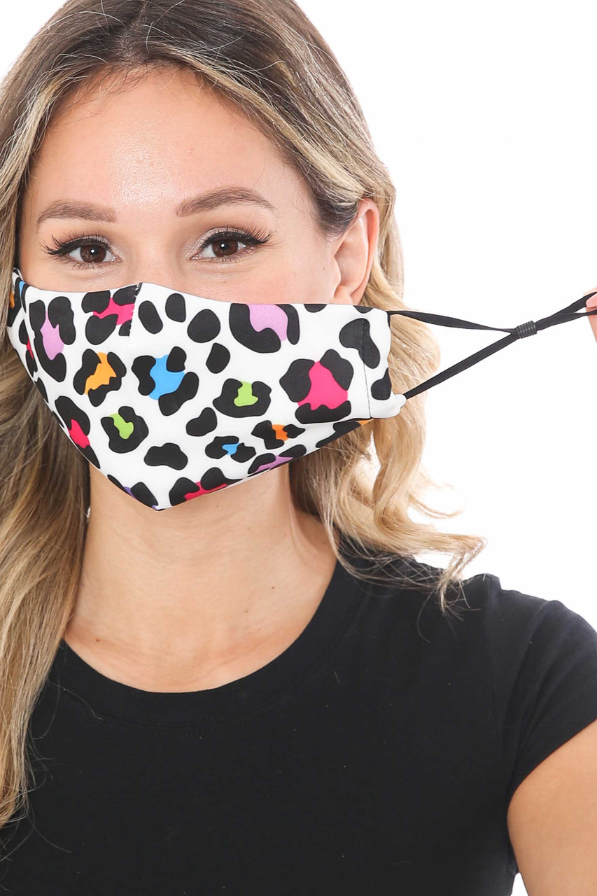 Front of Colorful Leopard Spots Graphic Print Face Mask showing adjustable ear strings.