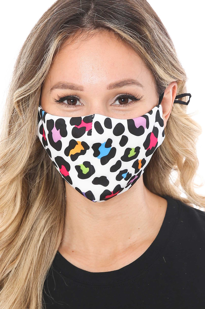 Front of Colorful Leopard Spots Graphic Print Face Mask